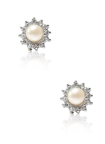 Pearl Surrounded Stud Earring - Sterling Silver - LeCalla