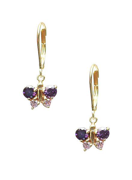 Purple Butterfly Dangler Earrings - Sterling Silver - LeCalla