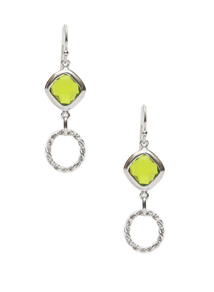 Green Yard Dangler Earrings - Sterling Silver - LeCalla