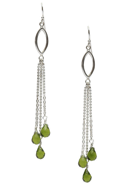 Green Tassel Dangler Earrings - Sterling Silver - LeCalla