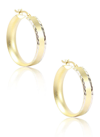 Matt Gold Elegant Hoop Earrings - Sterling Silver - LeCalla