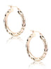Cut Work Rose Gold Hoop Earrings - Sterling Silver - LeCalla.in