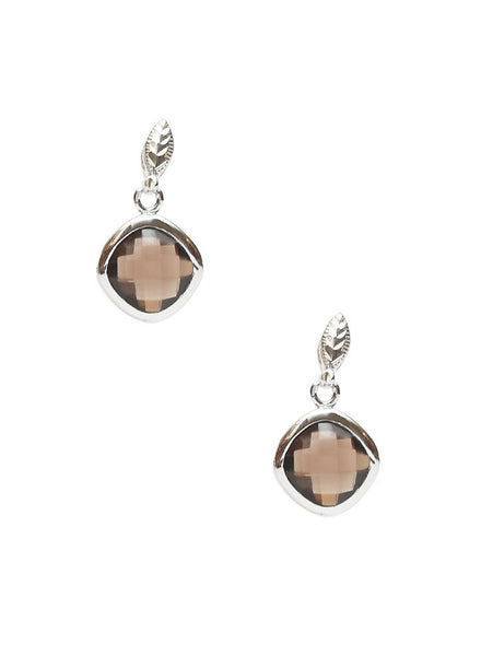 Smokey Quartz Drop Dangler Earrings - Sterling Silver - LeCalla