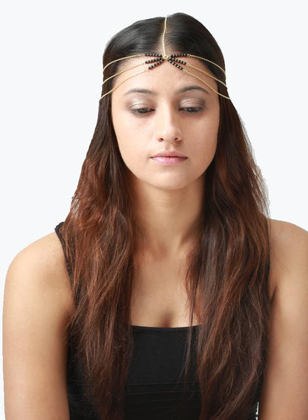 Black Beads Glamour Head Chain - Trending Jewelry - LeCalla