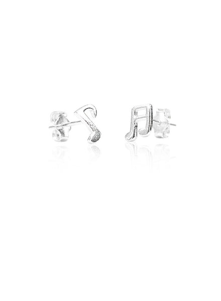 Musical Notes Mismatch Stud Earring - Sterling Silver - LeCalla