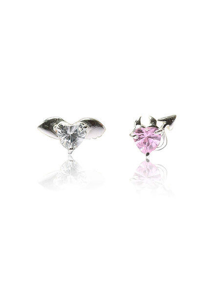 Cupid n Devil Stud Earring - Sterling Silver - LeCalla