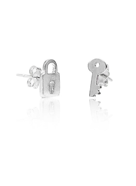 Lock Key Mismatch Stud Earring - Sterling Silver - LeCalla