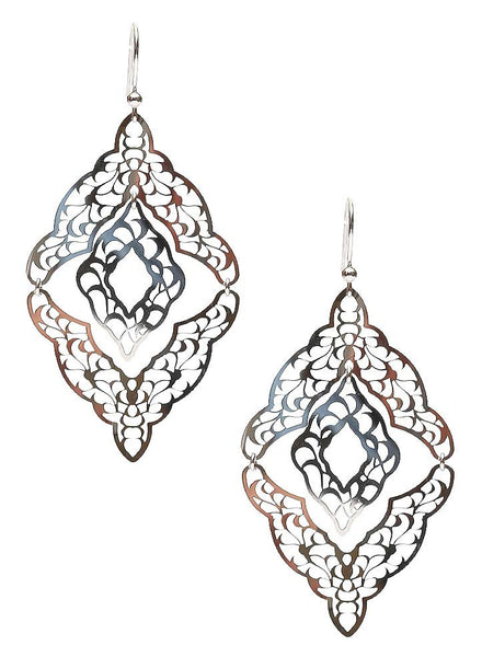 Diamond Lantern Dangler Earrings - Sterling Silver - LeCalla