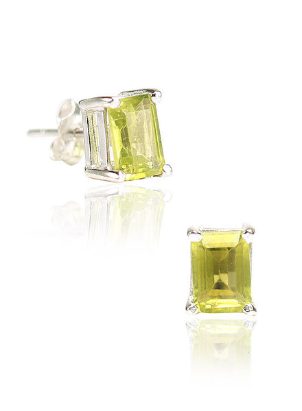 Square Cut Green Stud Earrings - Sterling Silver - LeCalla