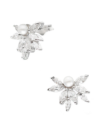 Pearl Elegance Stud Earrings - Sterling Silver - LeCalla