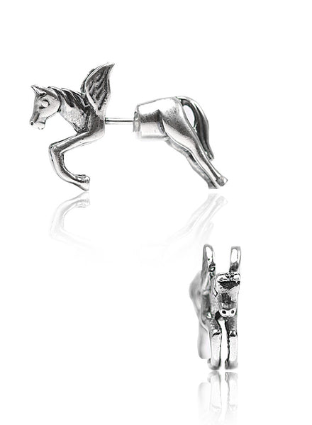 Running Horse Stud Earrings - Sterling Silver - LeCalla