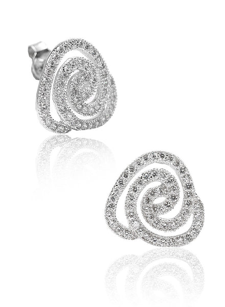 Micropave Triangular Studs - Sterling Silver - LeCalla