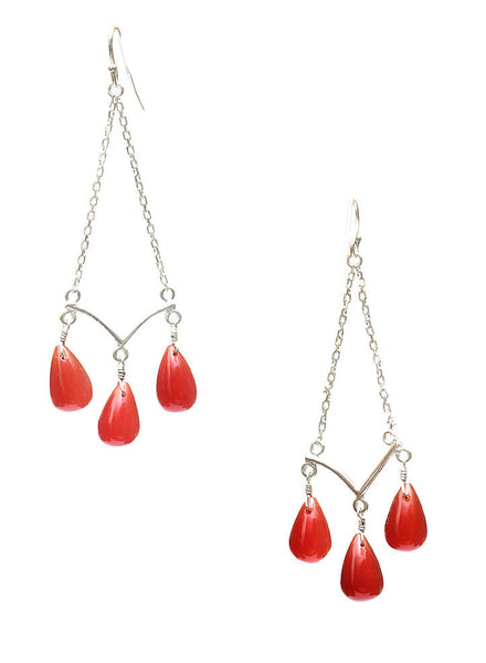 Red Tassel Dangler Earrings - Sterling Silver - LeCalla