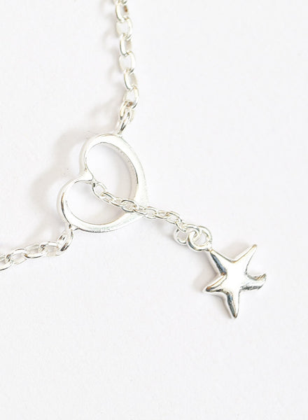 Heart and star charm silver anklet