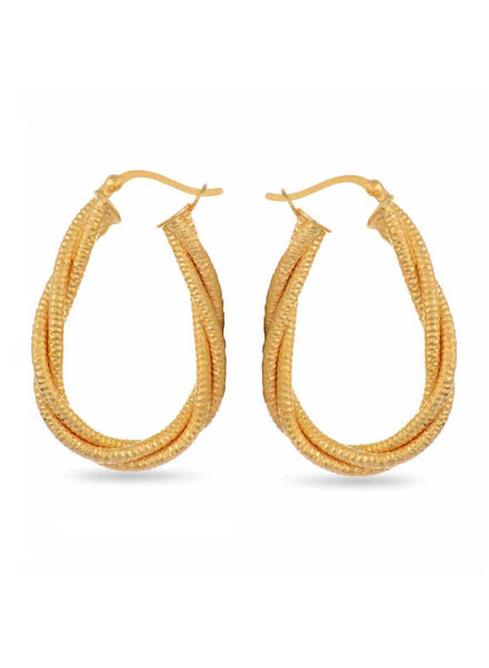 Yellow Gold Hoop earring in 925 silver-lecalla.in