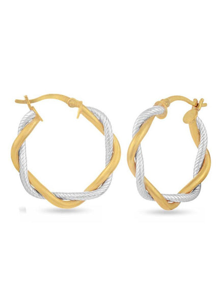 Silver, Yellow Gold, hoop earring in 925 silver-lecalla.in