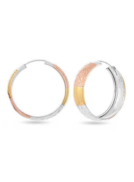 Silver, Yellow Gold, Rose Gold  hoop earring in 925 silver-lecalla.in