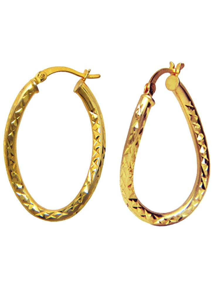eb6812508 Oval twisted Silver Bali Gold Plated Earrings - Sterling Silver - LeCalla