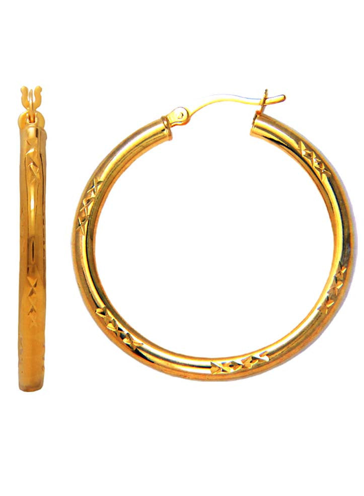 fed00a9b7 Round Silver Bali Gold Plated Hoop Earrings - Sterling Silver - LeCalla