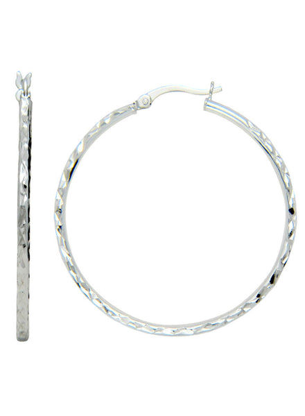 Thin Light Silver Diamond Shine Hoop Earrings - Sterling Silver - LeCalla