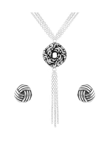 Sterling Silver Algerian Love Knot Multi Chain Pendant Set