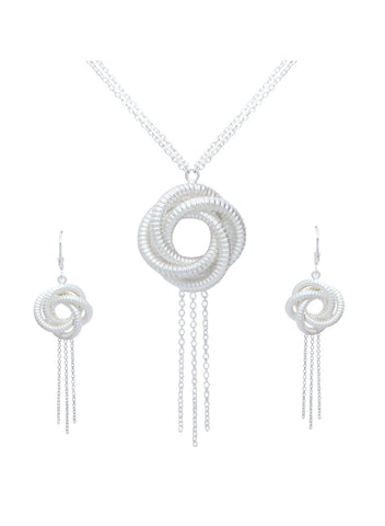 Matte Silver Algerian Love Knot Long Necklace Earring Pendant Set
