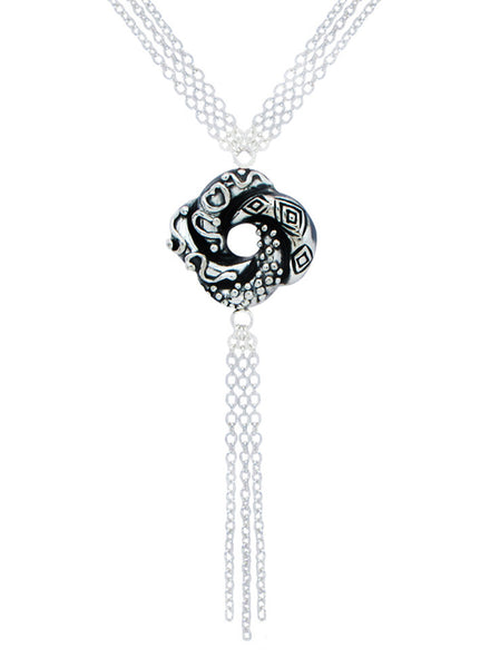 Oxidized Algerian Love Knot Matte Silver Necklace - Sterling Silver - Online India LeCalla