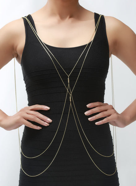 Golden Beads Body Chain - Brass - LeCalla