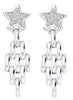 Star Chandelier Drop Chain Style Dangler Earrings - Sterling Silver - LeCalla Online India