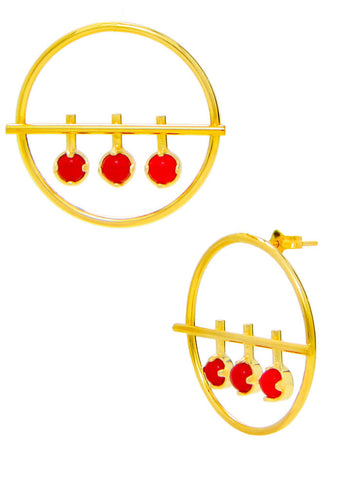 Red Hot Stunning Stud Earrings - Trendy Fashion Earrings - LeCalla Online India
