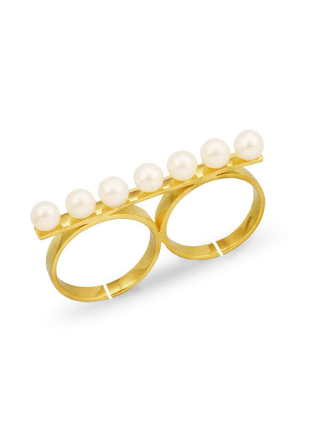 Pearl Bar Multi Finger Ring - Trendy Jewelry - LeCalla