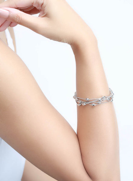 Bold and Graceful Bracelet - Sterling Silver - LeCalla.in
