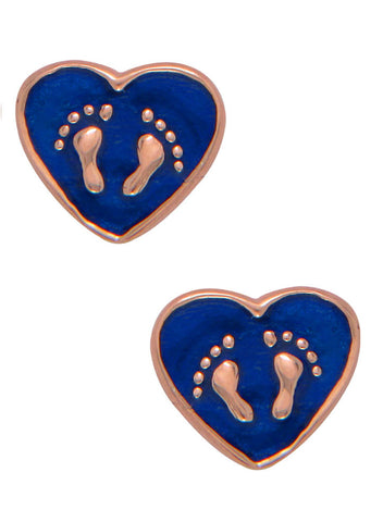 LeCalla's Baby Footsteps Blue Stud Earrings - Sterling Silver - Online India