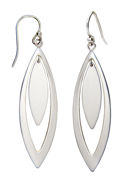 Marquise Shape Plate Dangler Earring - Sterling Silver - LeCalla
