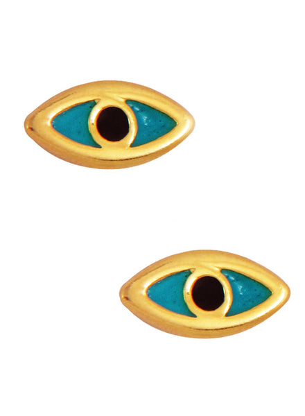 LeCalla's Evil Eye Gold Stud Earrings - Sterling Silver - Online India