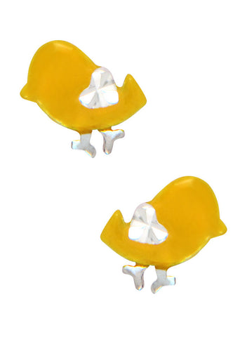 LeCalla's Yellow Birdie Kids Stud Earrings - Sterling Silver - Online India