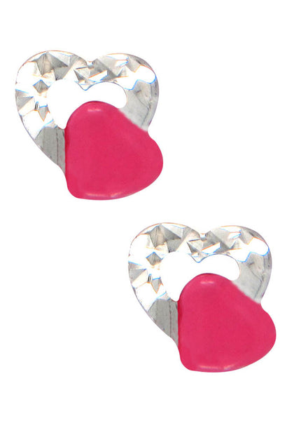LeCalla's Pink Heart in Hearts Kids Stud Earrings - Sterling Silver - Online India