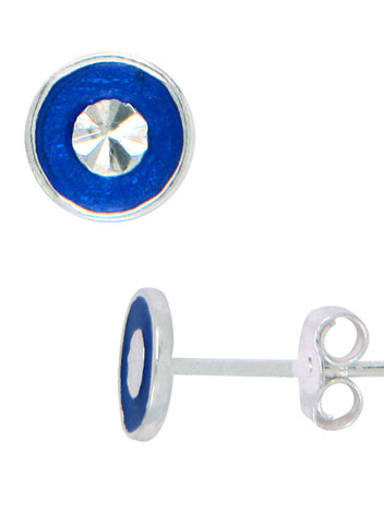 LeCalla's Blue Button Cross Kids Stud Earrings - Sterling Silver - Online India