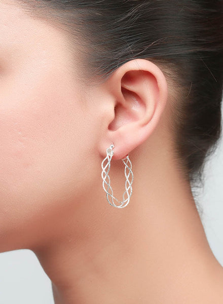 Wired Silver Hoop Earrings - Sterling Silver - LeCalla
