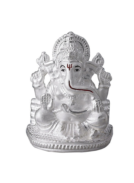 LeCalla's Lord Ganesha Light Weight Religious Idol - Pure Silver Gifting