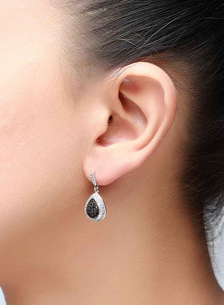 Micropave Black Elegance Stud Earrings - Sterling Silver - LeCalla