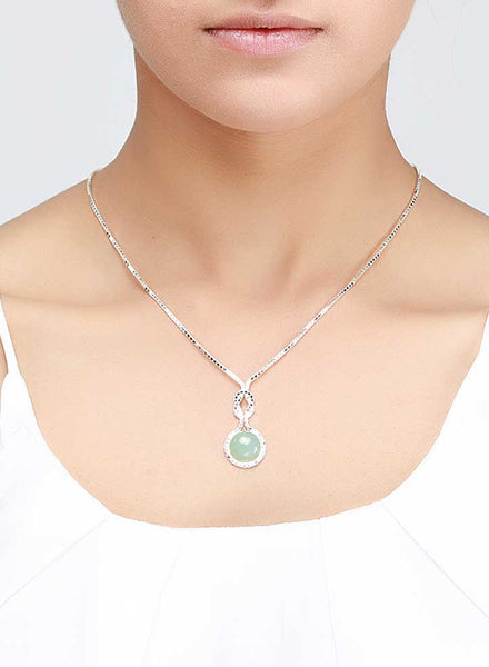 Aqua Stone Charming Necklace - Sterling Silver - LeCalla