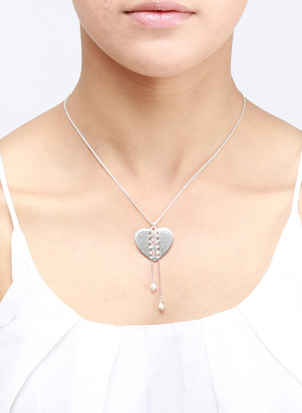 Sewn in Beautiful Heart Necklace