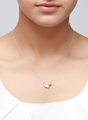 Tri-Triangle Geometric Necklace - LeCalla