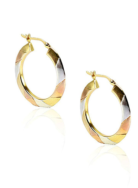 Three Toned Radiant Hoop Earrings in 925 sterling silver - LeCalla.in
