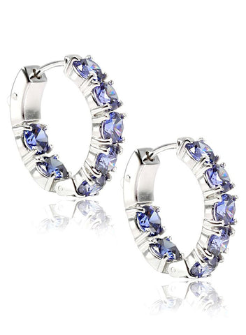 Rhodium Plated Hoop Earring in 925 Sterling Silver - LeCalla.in