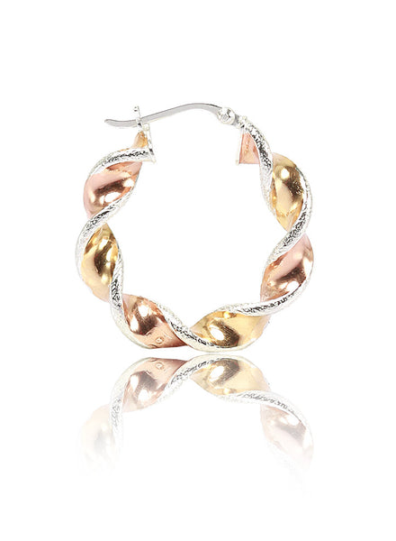 Three Tone Twisted Hoop Earrings - Sterling Silver - LeCalla.in
