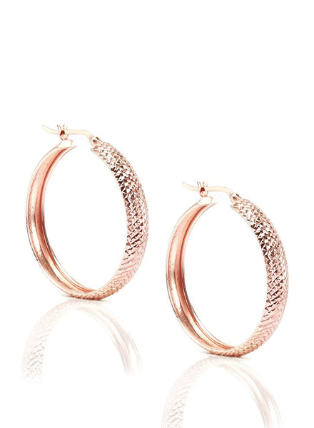 Contemporary Hoop Earrings - Sterling Silver - LeCalla