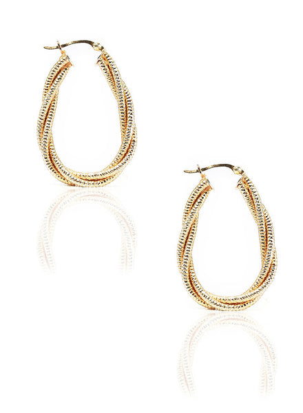 Golden Dust Hoop Earrings - Sterling Silver - LeCalla