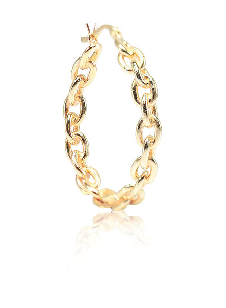 Chain Link Hoop Earrings - Sterling Silver - LeCalla